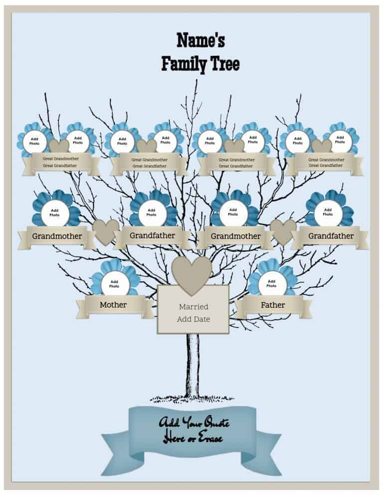 Family tree template for Preschool family tree template