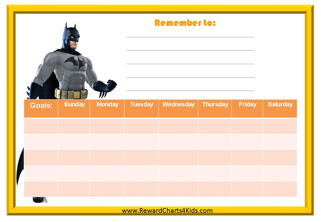 Weekly Behavior Chart with Batman