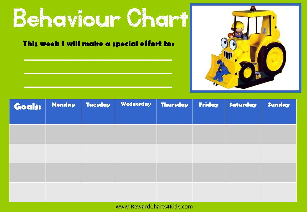 Weekly Bob the Builder Behaviour Chart (week starts on Monday)