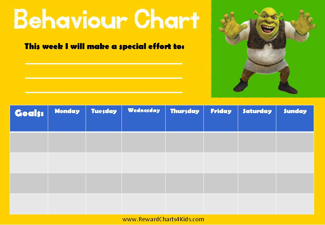 Weekly behaviour chart starting on a Monday with space for 4 different ...