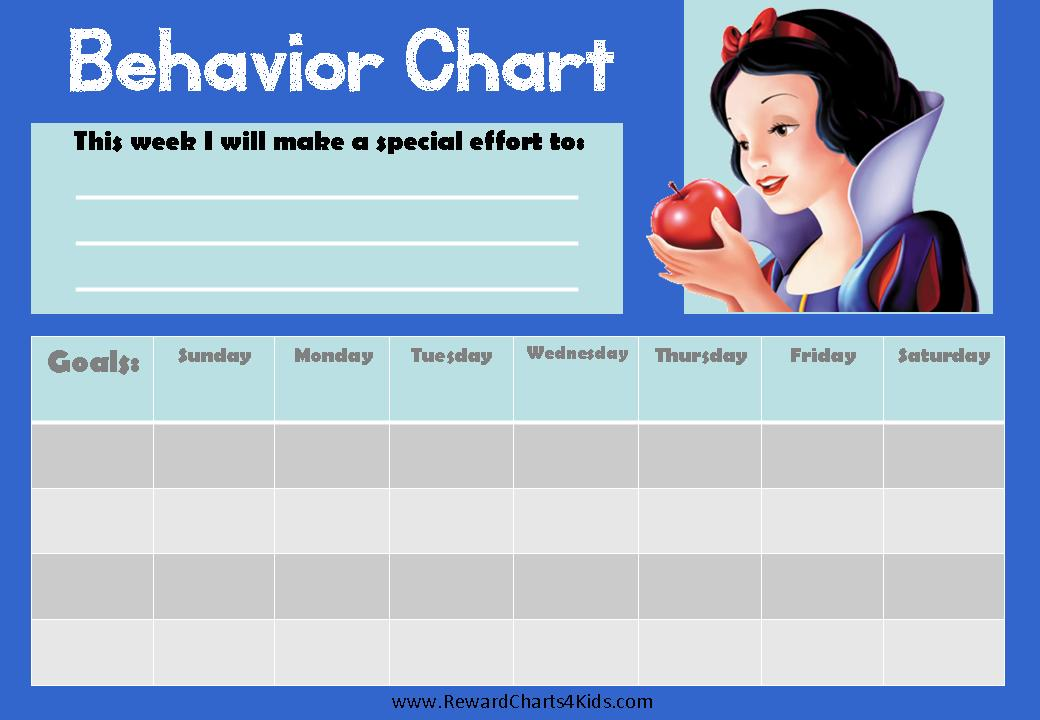 Weekly Behavior Chart with a picture of Snow White