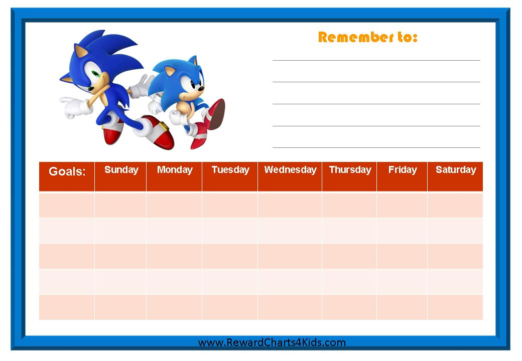 Pics Photos - Reward Chart With A Colored Border And A Weekly Chart