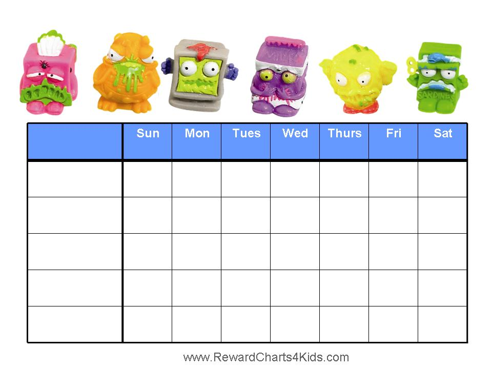 The Trash Pack Reward Charts – Free Reward Chart Templates