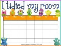 Reward chart for tidying room