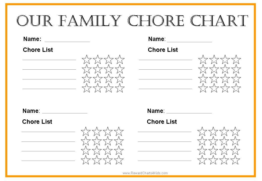 weekly chore chart for family