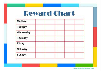 reward chart with a colored border and a weekly chart