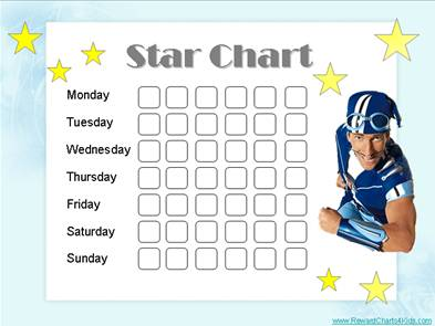 Chart with Sportacus from Lazy Town