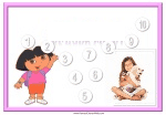 Personalized behavior chart with a picture of Dora and a picture of a girl (to be replaced with user's photo)