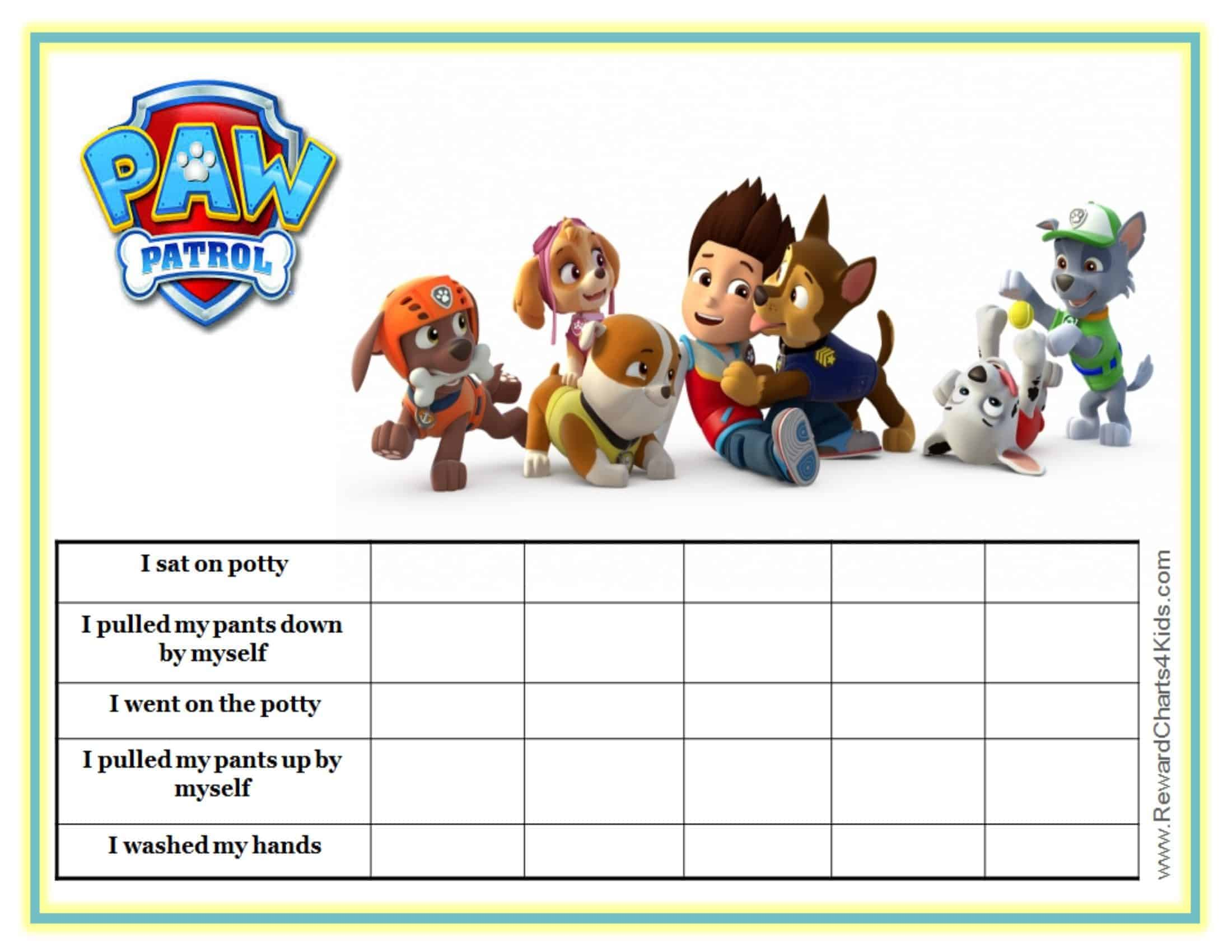 photo relating to Printable Potty Sticker Chart named Cost-free Customizable Paw Patrol Charts Fast Down load