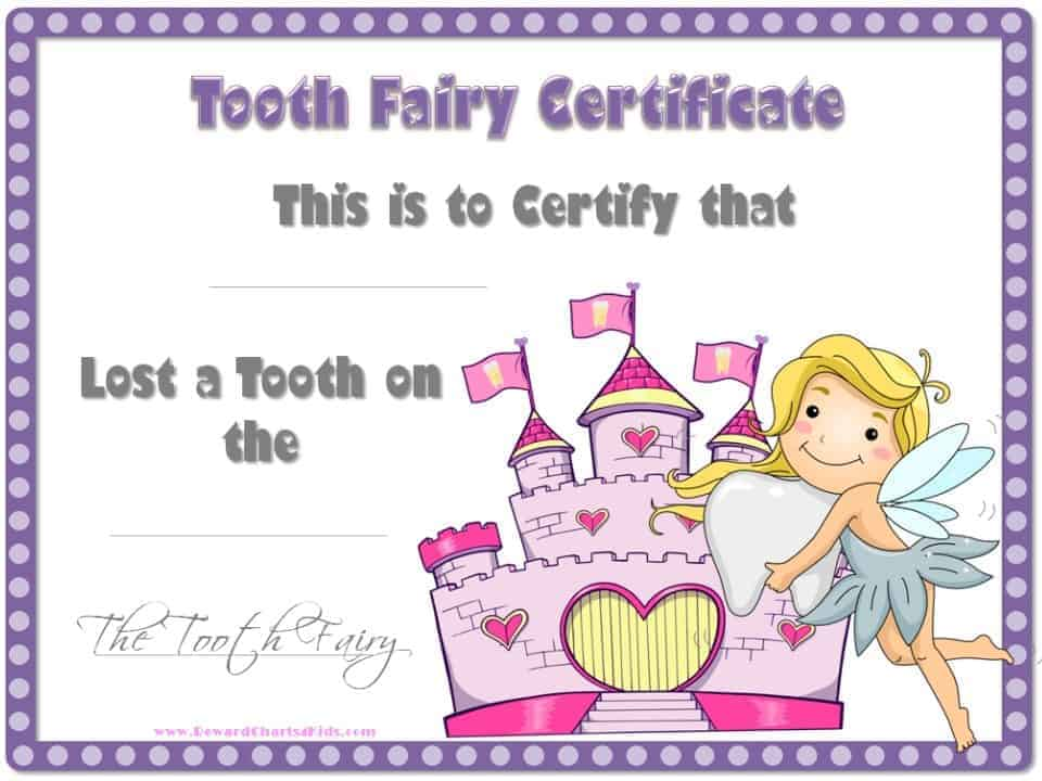 It is a picture of Handy Tooth Fairy Certificate Printable Girl