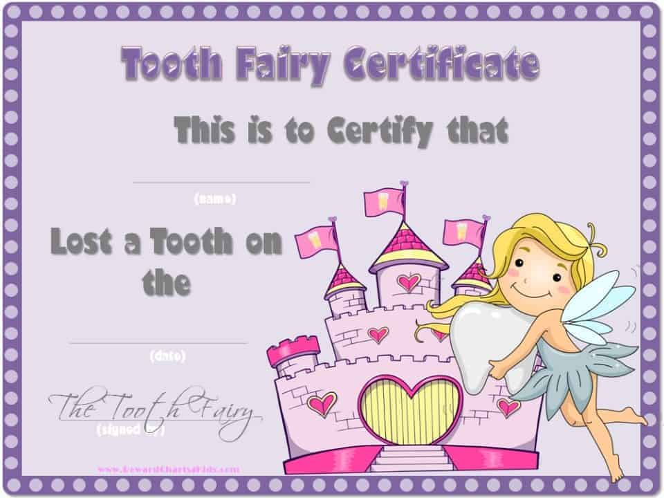 Tooth fairy certificate for Free printable tooth fairy certificate template