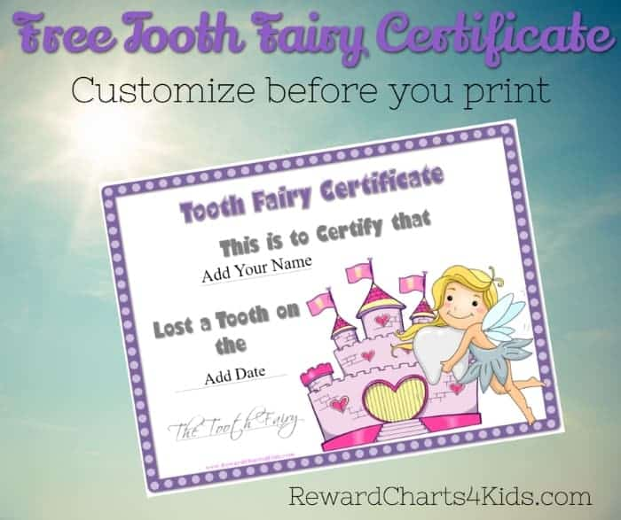 picture relating to Free Printable Tooth Fairy Receipt identify Enamel Fairy Certification