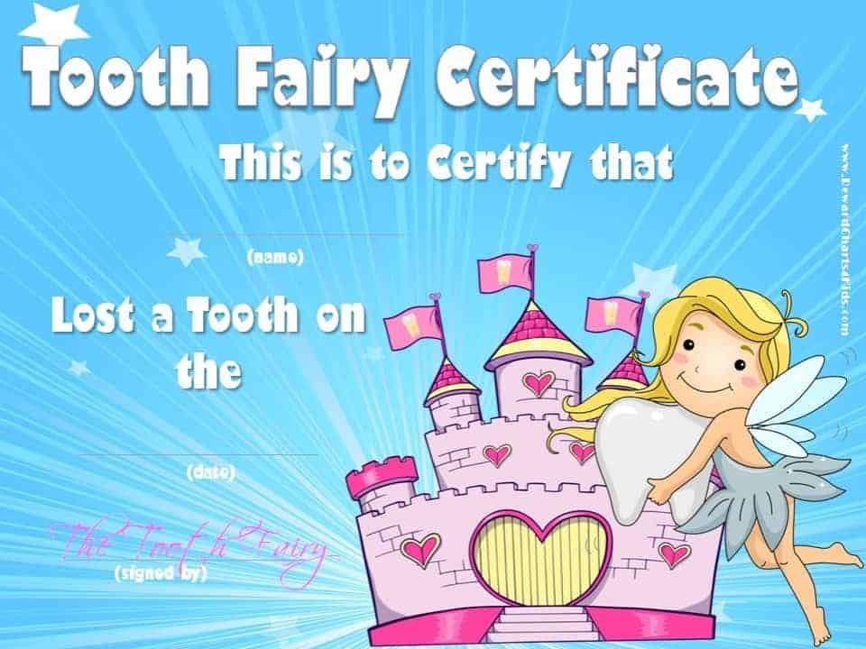 Tooth fairy certificate yelopaper Choice Image