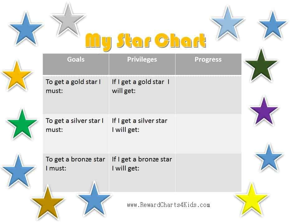 Gold Star Chart  Progress Chart For Kids