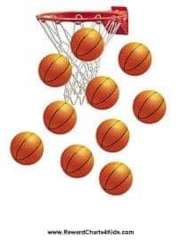 basketball hoop with basketballs