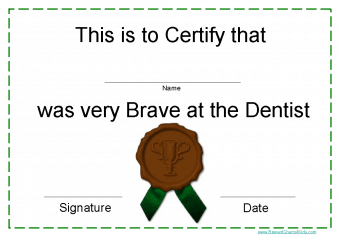 free printable certificate after visit to dentist