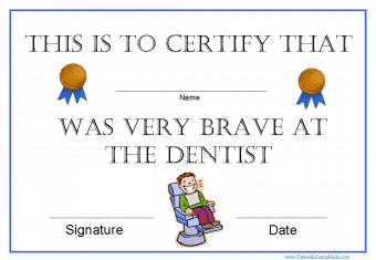 Certificate for dentist to give to patient
