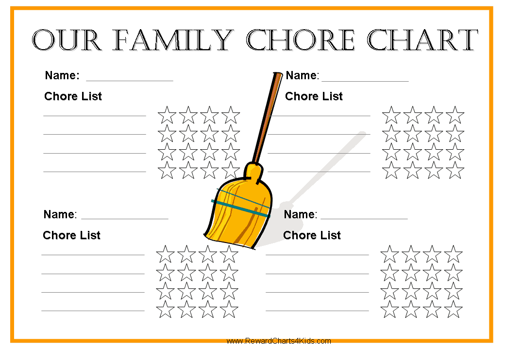Free family chore chart for Chore list template for kids