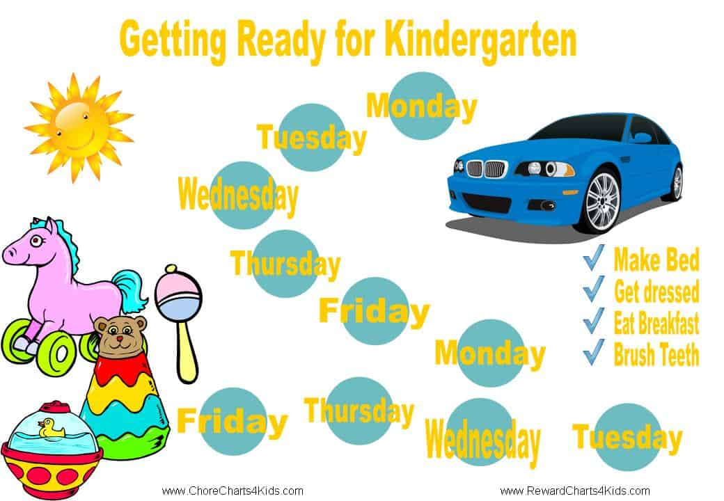 reward chart to help young kids get ready for day care or preschool in the mornings with list of tasks to do in the morning make bed get dressed