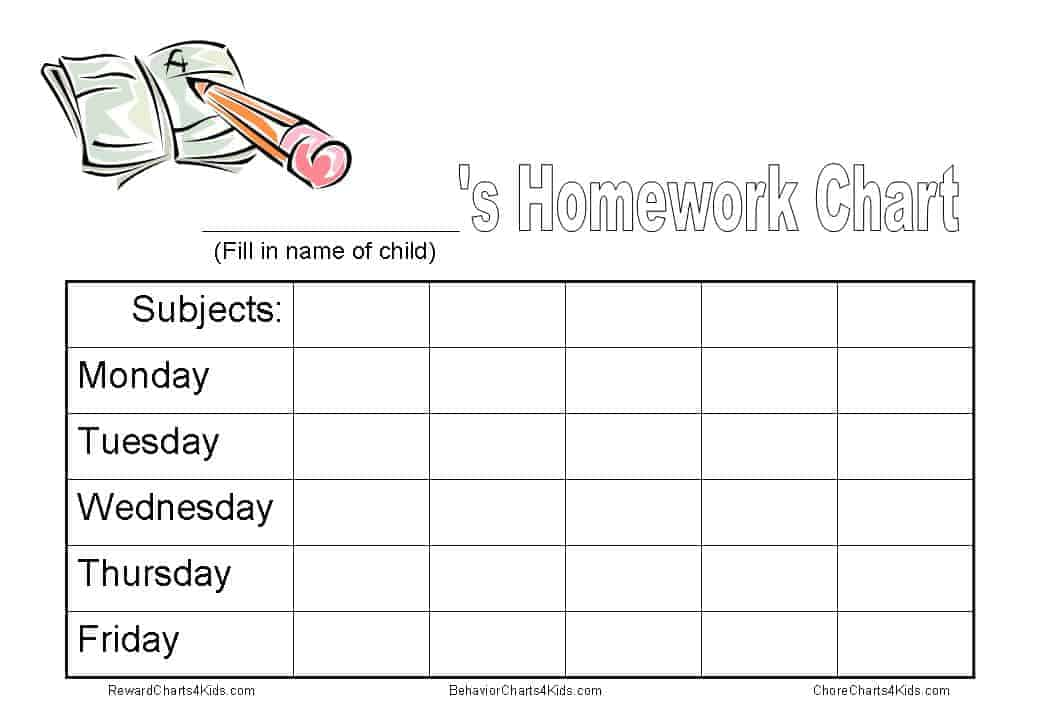 Homework Chart  Kids Behavior Chart Template
