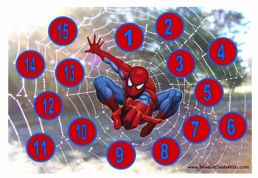 Spiderman Reward Charts on Worksheets With The Number 10 Best