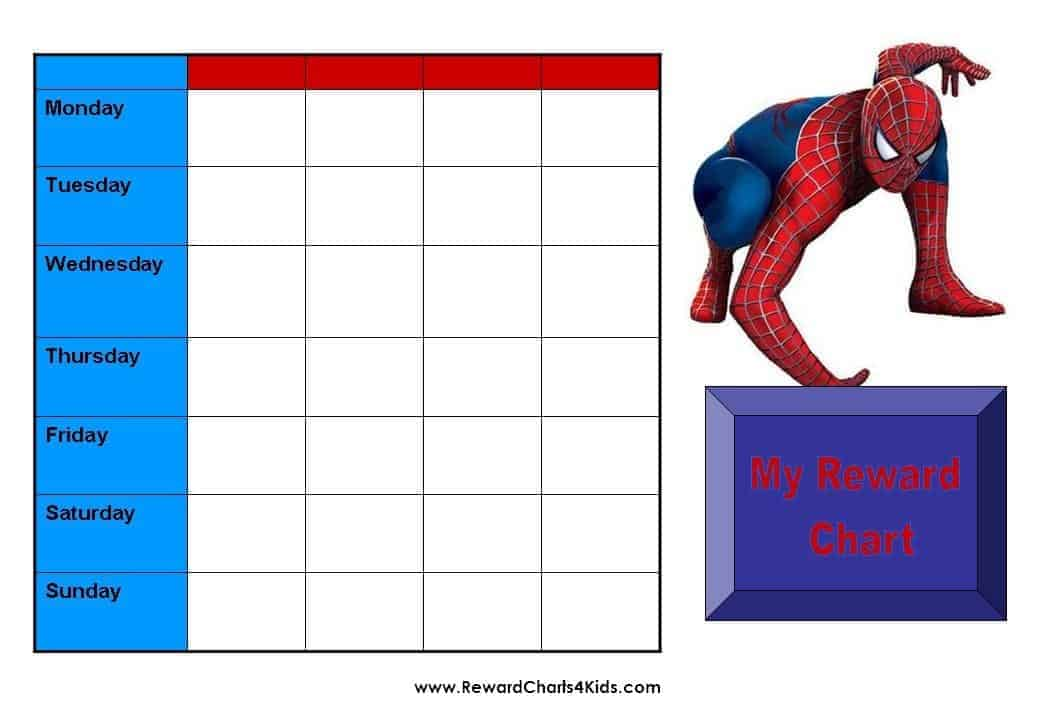 Kids Reward Calendar : Spiderman behavior charts