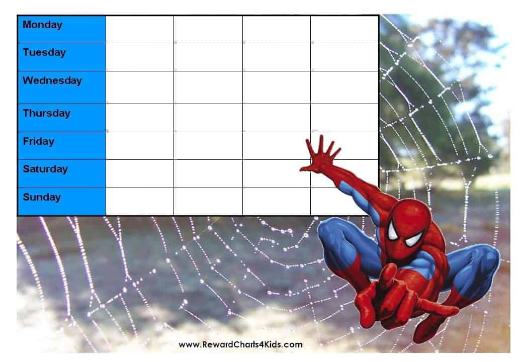 Spiderman Reward Charts on Reward Charts