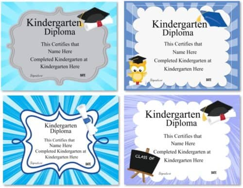 Kindergarten diploma certificate templates
