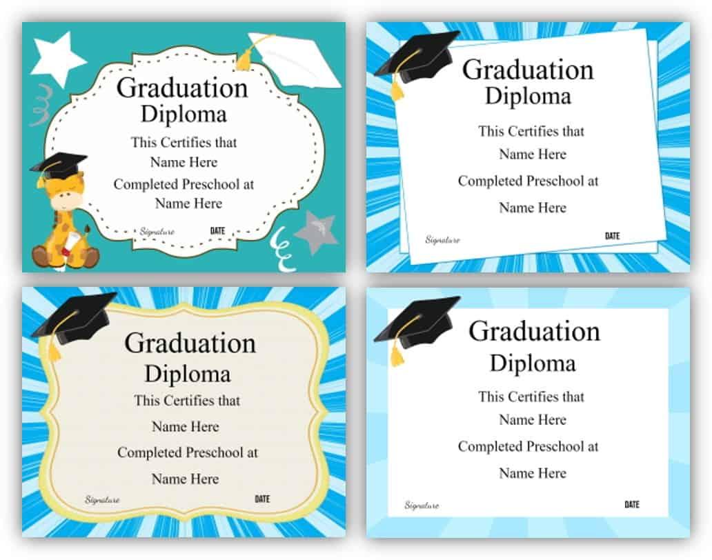 Free Printable Preschool Graduation Certificate Templates In Free Printable Graduation Certificate Templates