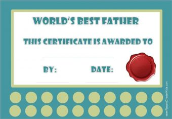 Greatest Dad certificate