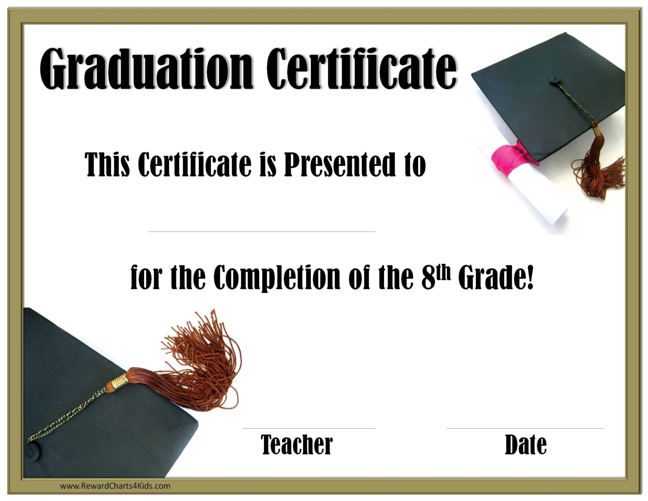 School Graduation Certificates  Customize online with or without With Free Printable Graduation Certificate Templates