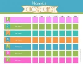 graphic relating to Chore Chart Printable Free identified as Cost-free Printable Chore Chart for Children Customise On-line