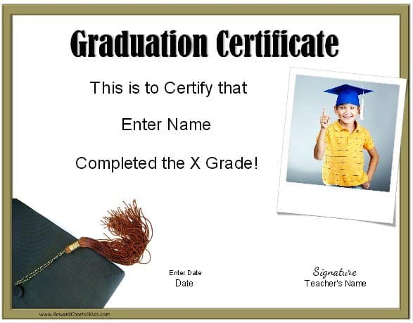 school graduation certificates customize online with or without a photo. Black Bedroom Furniture Sets. Home Design Ideas