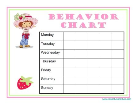 Strawberry shortcake reward chart