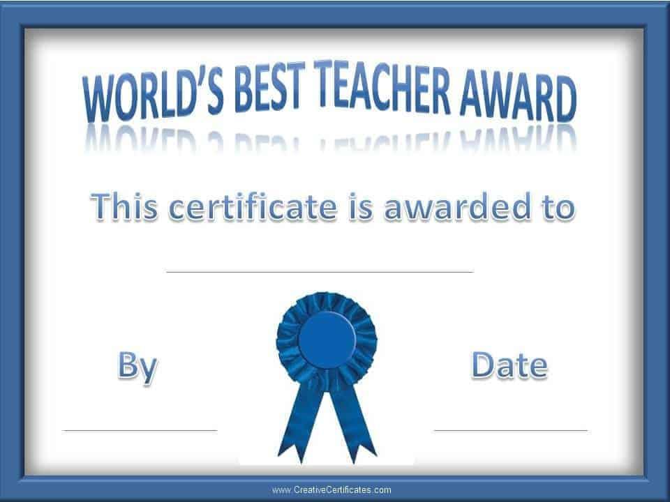 Teacher Of The Year Award Certificates Customize Online