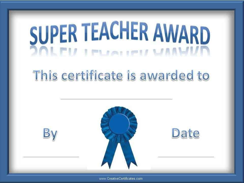 teacher of the year award certificates