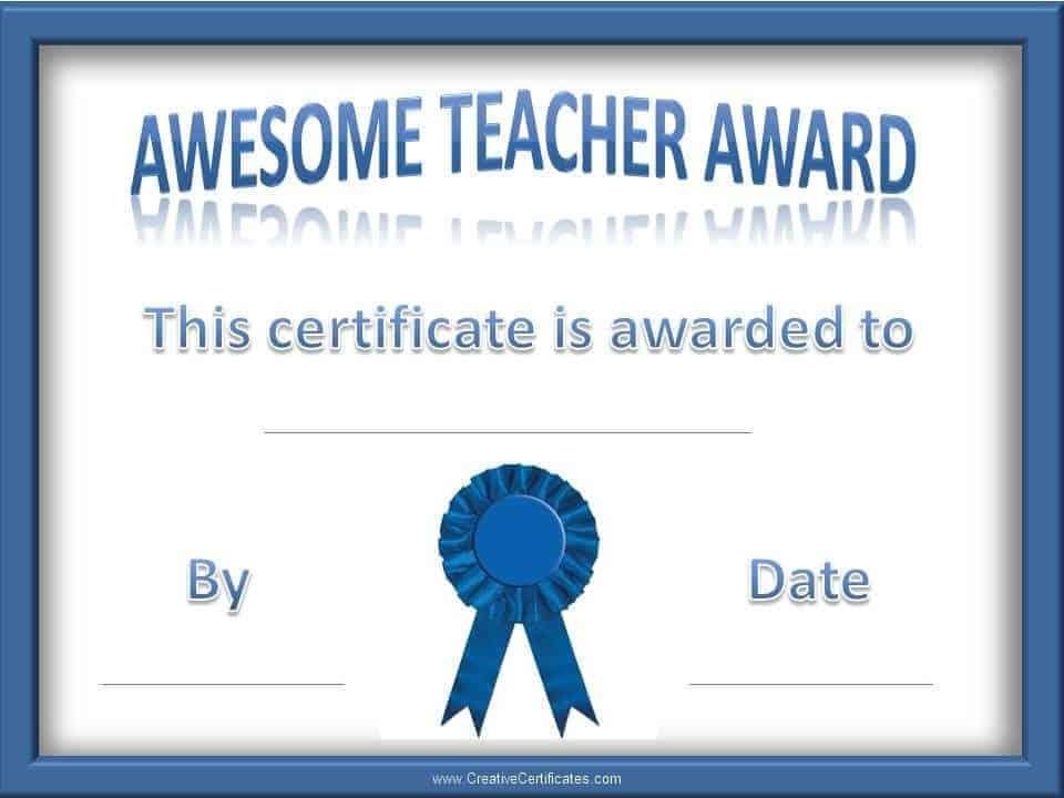 teacher of the year award certificates
