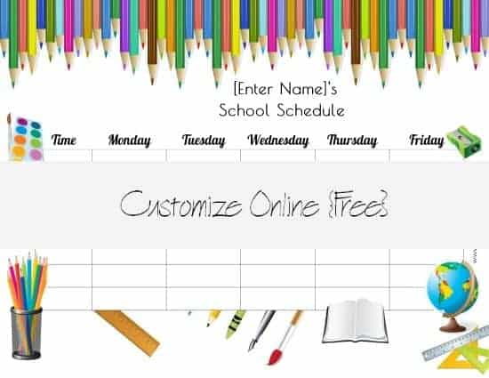 Free School Schedule Maker | Customize Online & Print At Home