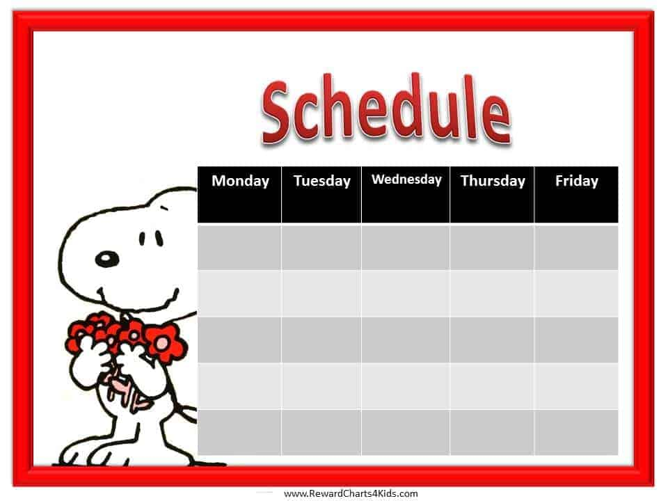 kids schedule template