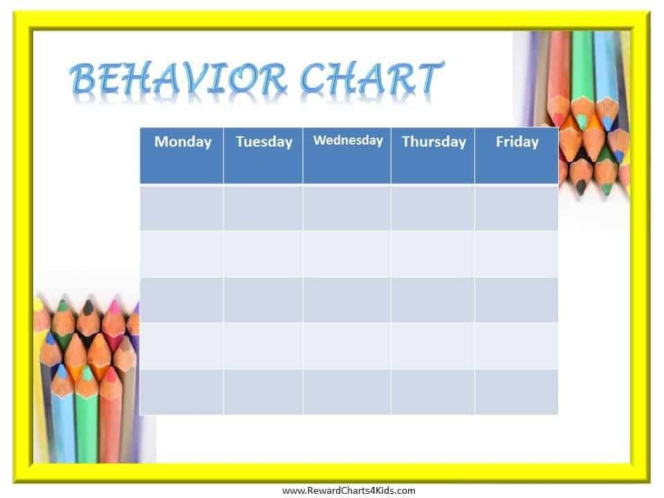 This is a picture of Clean Free Printable Behavior Chart