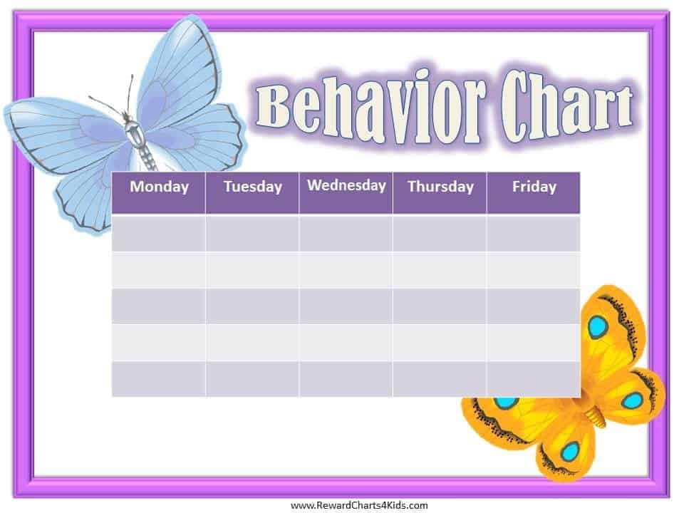 weekly chart with a pinkish border and two pictures of butterflies