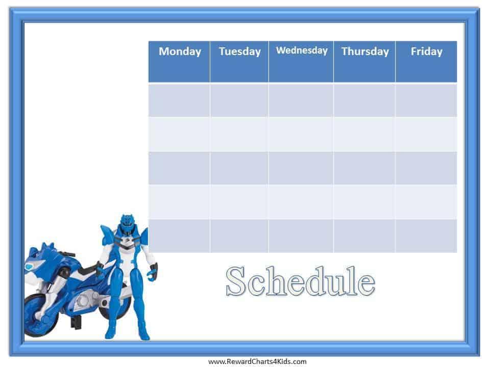 kids schedule template