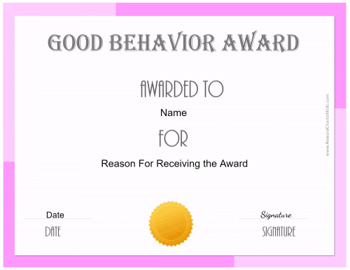 free certificate of good behavior customize print