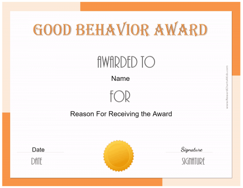 good behavior certificate printable