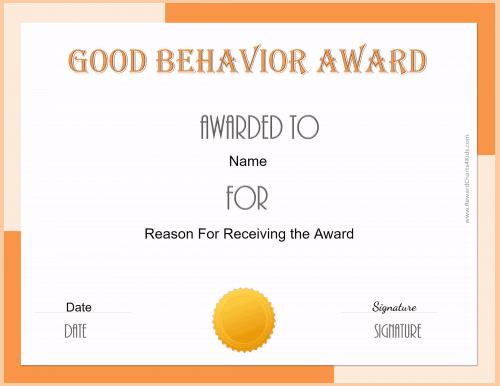 good behavior certificate printable