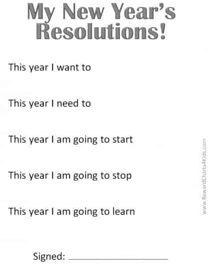 New Years Resolutions for the classroon (in black and white to save ink)
