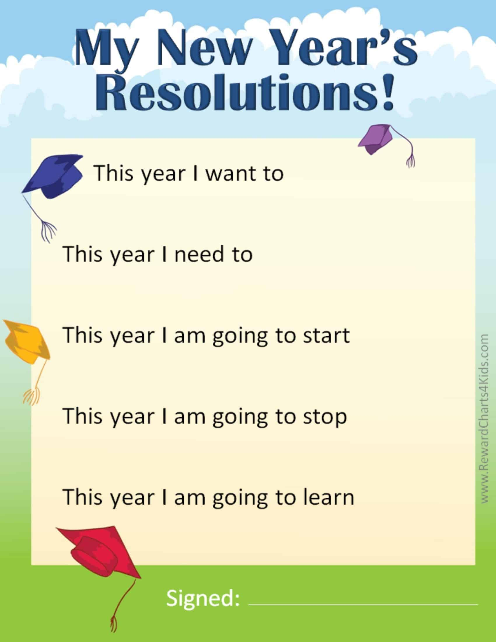 new year s resolutions for kids new years resolutions