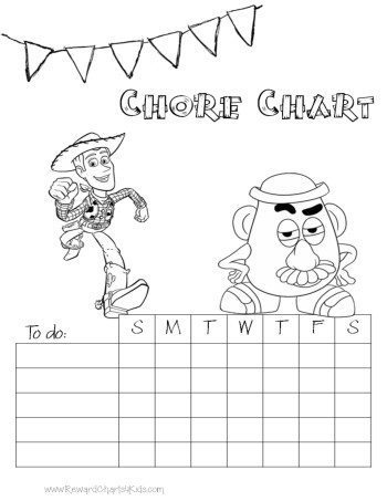 chore chart with characters from the Toy Story