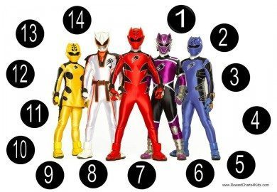 Sticker Chart with Power Rangers