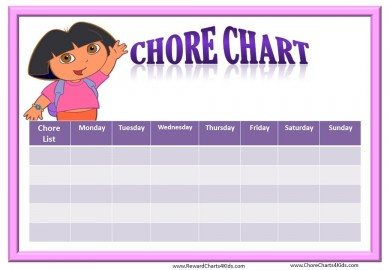 Chore Chart Template with Dora